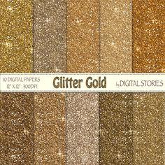 Glitter Digital Paper GLITTER GOLD Scrapbook by DigitalStories, €2.60