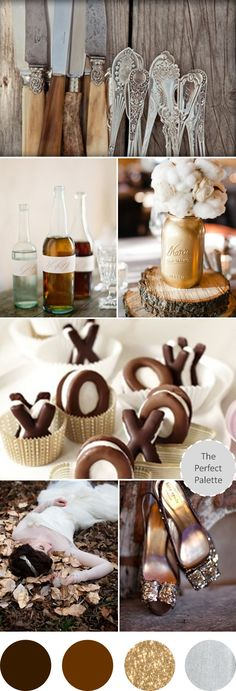Wedding Colors I Love | Shades of Brown, Gold + Silver!