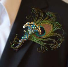 Peacock Brooch Boutonniere or Buttonhole Peacock by DecoraMood, $26.00