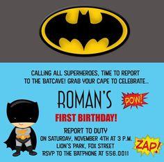 Birthday Bat Kid Birthday Invitations Kids Parties Super Heros