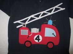 Geburtstags-Shirt/Polo-Shirt mit FEUERWEHR-Applikation, Unikat, Gr.110/116. NEU