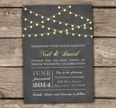 Grey String Lights Wedding Invitations - DIY Printable, Starry lights, Bridal Shower, Engagement Party, Baby Shower, Yellow - Style #9001