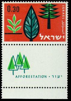 """Israel stamp """"Afforestation"""" Designed by P. Kor, 1961"""