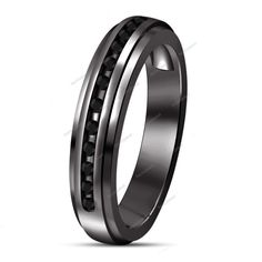 Charming !! Especial Round AAA Diamond 14k Black Gold Plated Band Ring 0.70 CT…