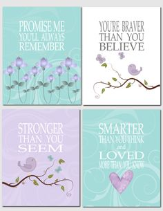 Printable Nursery Art, Kids Wall Art, Lavender, Purple, Turquoise, Aqua,, Promise Me You'll Always Remember, Set of 4, INSTANT DOWNLOAD by vtdesigns on Etsy https://www.etsy.com/listing/200083762/printable-nursery-art-kids-wall-art