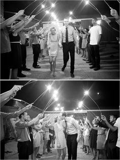 sparkler exits work best when you have a couple sparklers per each guest, and they EACH have a lighter/matchboxes to light their own sparklers so everyone can do it at the same time.  the more sparklers the better the effect, so each person can have a few.  make sure to keep them dry and out of humidity, and the long heafty ones so they last for the entire time.
