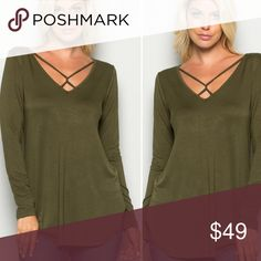 5 ⭐️️ RATED!!! S-L Olive tee S-L Olive tee with criss Cross straps at neckline. Long sleeve, solid A line top 96% Rayon, 4% Spandex. MADE IN USA, excellent quality! SO CUTE!!!! 5 ⭐️️ RATED! Runs true to size. No trades. Tops Tees - Long Sleeve