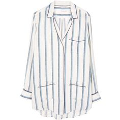 Equipment Gavin White/Blue Stripe Print Pajama Inspired Shirt (12.280 RUB) ❤ liked on Polyvore featuring tops, shirts, blouses, pajamas, long white shirt, white silk shirt, striped shirt, white blouse and white silk blouse