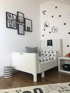 20 Best Black and White Bedroom Decor (Amazing!) - Paul Home Design - Dekoration White Kids Room, White Room Decor, Boys Black And White Bedroom, Black White, Boys Bedroom Paint, Boys Bedroom Decor, Kids Room Design, Home Design, Baby Room Colors