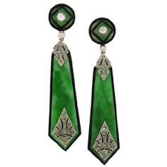AARON FABER - Art Deco Jade Earrings