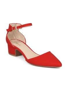 378b946c227 Shoes Alrisco HG61 Women Nubuck Pointy Toe dOrsay Ankle Strap Low Block Heel