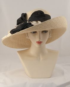 0985VGPA Virginia, Panama straw, corn with black-Louise Green Millinery