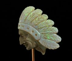 10033: Unmarked YG & carved opal stickpin, Native Ameri : Lot 10033
