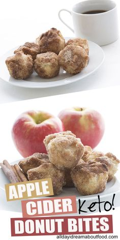 Apple Cider Donut Bites The perfect keto fall treat! These low carb Apple Cider Donut Bites are easy to make and kids love them. Dipped in butter and rolled in cinnamon sugar for a taste like the real thing! Low Carb Sweets, Low Carb Desserts, Low Carb Recipes, Fall Desserts, Protein Recipes, Healthy Recipes, Snacks Recipes, Apple Dessert Recipes, Ketogenic Recipes