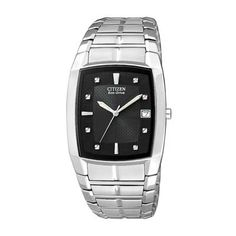 Men's Citizen Eco-Drive™ Stainless Steel Watch with Black Tonneau Dial (Model: BM6550-58E)