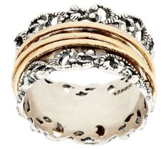 Sterling Silver Lace Design Spinner Ring by Or Paz