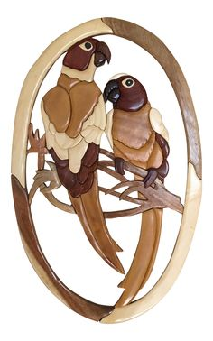 Carved Puzzle Wood Parrot Wall Hanging