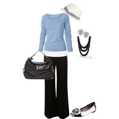 Pale Blue and Black - perfect for work and could be paired with jeans...drop the hat though