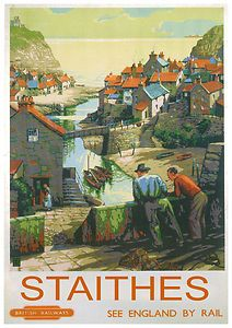 An poster sized print, approx mm) (other products available) - Poster produced for British Railways (BR) to promote rail services to the Yorkshire coast. Artwork by & - Image supplied by National Railway Museum - poster sized print mm) made in the UK Posters Uk, Train Posters, Railway Posters, Retro Posters, Vintage Advertising Posters, Vintage Travel Posters, Vintage Advertisements, National Railway Museum, Illustrations