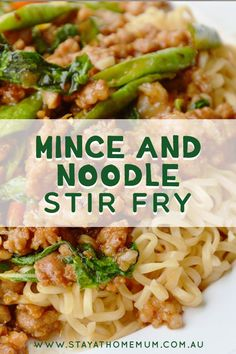Mince and Noodle Stir Fry. A great way to use up any leftover vegetables and throw them together. You can use beef mince, chicken mince or pork mince - whatever Minced Beef Recipes Easy, Minced Meat Recipe, Meat Recipes, Asian Recipes, Dinner Recipes, Pork Mince, Cooking Recipes, Recipes With Chicken Mince, Pastries