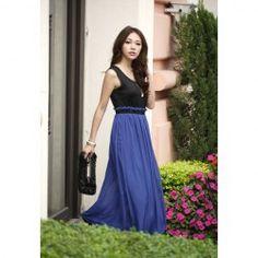 $8.32 Graceful Color Block Splice Narrow Waist Summer Long Dress For Women