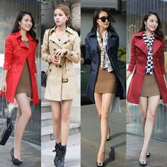 New Fashion Women Long Coat Double Breasted Belted Turn-Down Collar Trench Coat #Unbranded #Trench