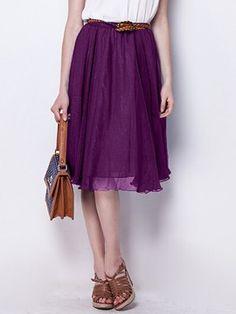 Shop Violet Wave Hem High Waist Pleat Skirt from choies.com .Free shipping Worldwide.$23.99