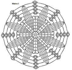 Crocheted motif no. Crochet Doily Diagram, Crochet Square Patterns, Crochet Poncho Patterns, Crochet Doily Patterns, Crochet Doilies, Crochet Stitches, Crochet Bowl, Crochet Round, Knit Or Crochet