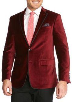 Tallia Orange Red Slim Fit Velvet Sport Coat