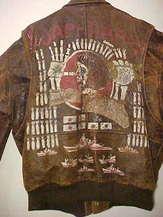 Vintage USAAF WWII Painted Leather Flight Bomber Jacket Dated 1943 'JAP HAPPY'