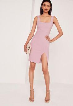 0ccaa7a21 Square Neck Side Split Midi Dress Lilac - Missguided Medias, Vestidos,  Trajes De Vestir
