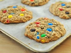 Monster+Cookies+by+Alexandra+Penfold.+These+are+intended+to+be+soft+cookies,+so+you'll+want+to+be+careful+not+to+overbake+them.+They+should+retain+their+softness+for+several+days+(by+day+three+they've+usually+been+devoured+in+my+house).+Here+I+used+dark+chocolate+M