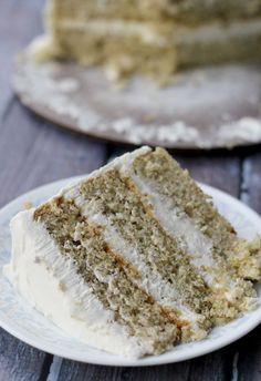 Pistachio Cake with Honey Vanilla Buttercream - Joanne Eats Well With Others #recipe