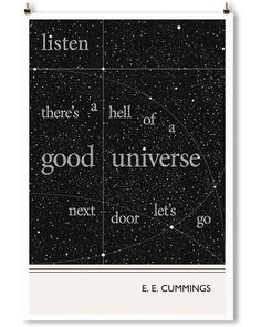 Cummings art print by Obvious State. Minimalist black and white wall art.