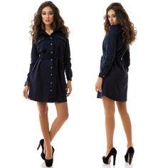 Stylish ladies dark blue suede shirt dress #suede #shirt #dress