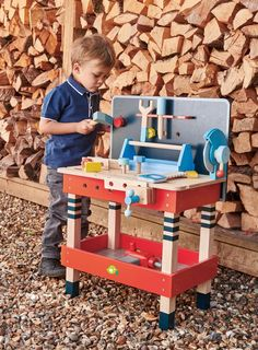 Beautiful tool bench crafted from solid rubber wood and plywood, with lots of accessories for any budding carpenter! Woodworking Tools For Beginners, Cool Woodworking Projects, Wood Working For Beginners, Woodworking Furniture, Fine Woodworking, Wood Projects, Woodworking Classes, Kids Tool Bench, Software