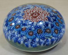 MURANO ART GLASS ROUND FLAT PAPERWEIGHT Flowers Blue White Brown Red Excellent
