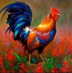 Diamond Painting Kits Cock in the Flower Field Rooster Painting, Rooster Art, Rooster Decor, Chicken Painting, Chicken Art, Hen Chicken, Acrylic Painting Canvas, Diy Painting, Rooster Cross Stitch