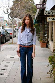 "Blue Ruffled J Crew Blouses, Blue Gap Jeans, Brown Woven Thrifted Belts | ""stayin' alive"" by MaraKathryn #MyVSFallEdit"