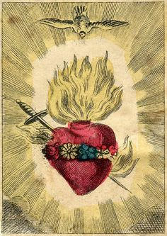 Vintage Sacred Heart Print The Immaculate by missquitecontrary, $25.00
