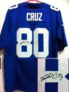 Nike Giants  80 Victor Cruz Signed Blue Team Color Mens NFL Elite Jersey 66c837fd7