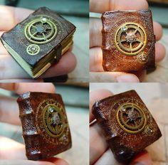 Miniature Wizard or Steampunk leather book Ericka Van Horn