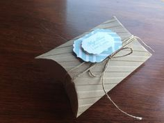 Garden of Creativity: Feeling a bit sentimental... Papertrey Ink Pillow box die with wedding favor stamp set Echo park Bundle of Joy Boy Stampin Up stripes embossing folder and Pool Party Ink Simple and a fun favor to make for a bridal or baby shower