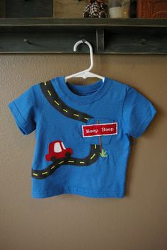 Toddler Boy Shirt idea but I will do it on my embroidery machine, not by hand.