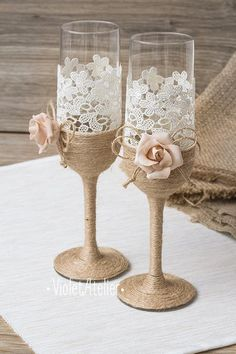 Dusty pink rose toasting glasses, burlap lace rose champagne wedding flutes