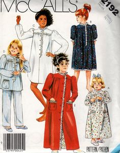 2192 McCall's Vintage Sewing Pattern Childrens and Girls Nightgown or Nightshirt or Pajamas and Robe Size Small Petite 4-6