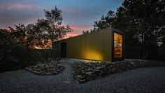 PBA Studio - Patrick Bradley Architects Bradley House, 40ft Shipping Container, Corrugated Tin, Water House, Birch Ply, Vernacular Architecture, Grand Designs, Concrete Floors, Northern Ireland