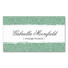 Mint Damask Massage Therapy Business Cards