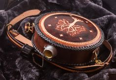 Personalized leather flask with belt custom made to order larp