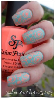Ocean Drive stamped with Salon Perfect's Flamingo Flare, Pueen plate 46